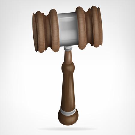 auction: wooden gavel isolated objecton white vector illustration Illustration