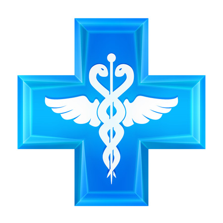 general insurance: blue health cross icon isolated vector illustration