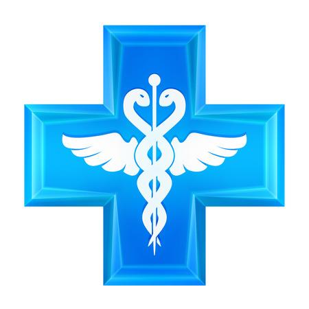 ambulancia: icono azul cruz salud ilustraci�n vectorial Vectores
