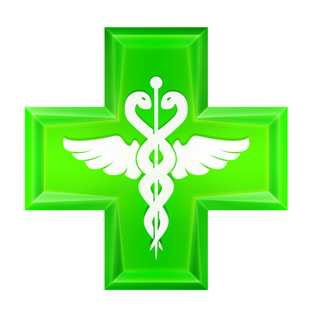 general insurance: green health cross icon isolated vector illustration Illustration
