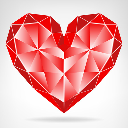 diamond red heart icon isolated vector on white illustration Vector