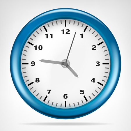 numbers background: blue clock with running time isolated vector illustration