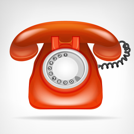 phone numbers: retro red phone with handset vector isolated illustration
