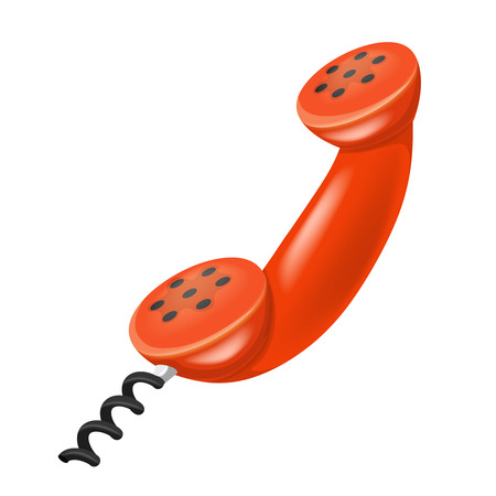 red handset isolated object on white isolated illustration Vector