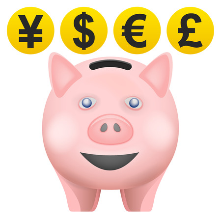 pig treassure in front view with currency coins vector isolated illustration Vector