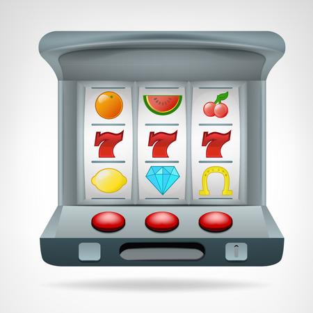 vegas sign: three lucky seven on slot machine object vector illustration