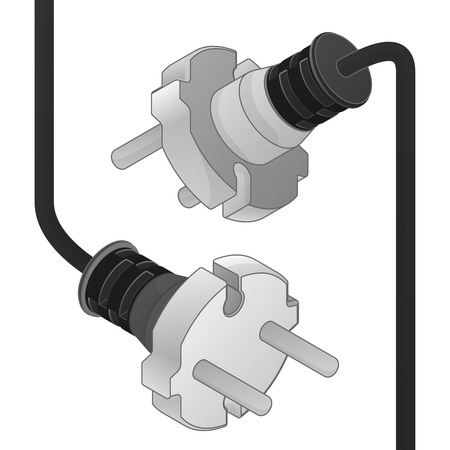 disconnect: disconnect plug ending isometric vector object illustration