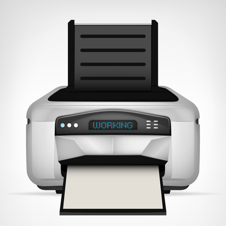 modern printer with blank paper down vector object illustration Vector