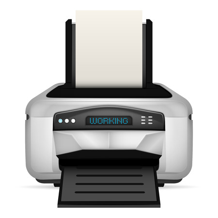 modern printer with blank paper up vector object illustration Vector