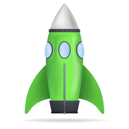 green standing rocket isolated vector object illustration Vector