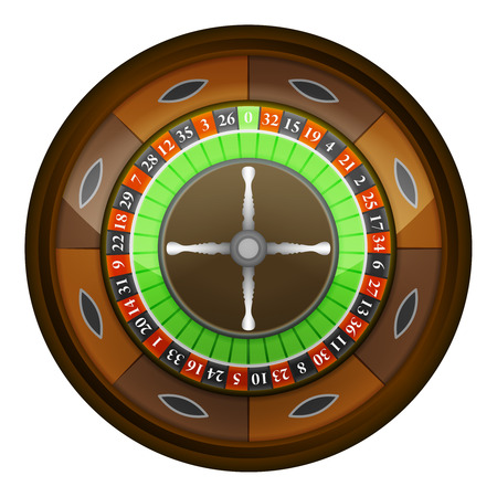 vegas sign: wooden roulette wheel in top view vector object illustration