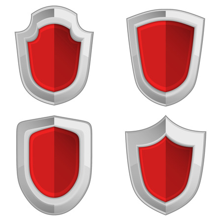 red shields set isolated vector illustration object Vector
