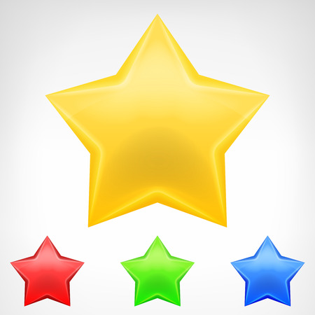 four color star element pack isolated vector illustration Vector