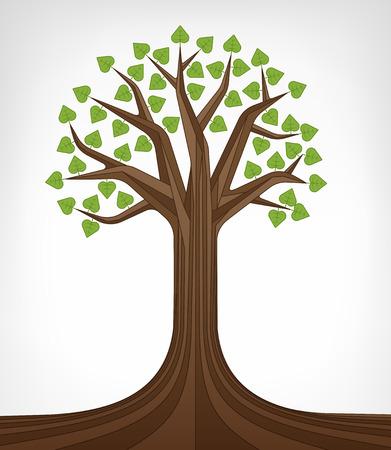 linden tree: leafy green linden tree conceptual art vector illustration Illustration