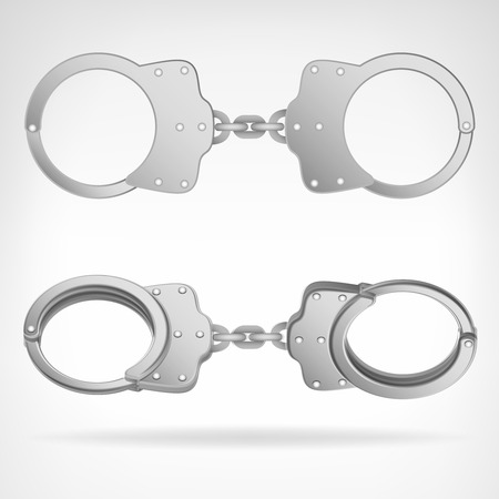 cuff: handcuff set isolated on white 3D vector illustration