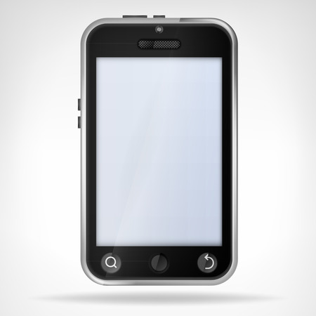 black smart phone front view empty display vector illustration Vector