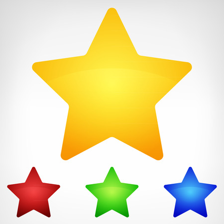 four color rounded star element set isolated vector illustration Vector