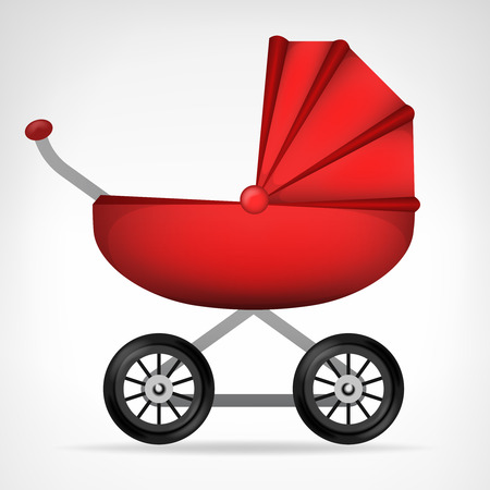 baby carriage: girly red stroller object on white vector illustration