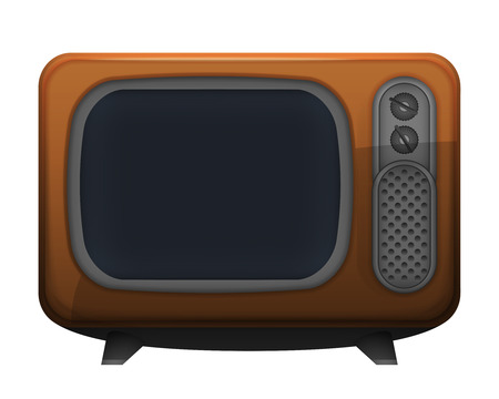 televisor: brown retro television object vector illustration