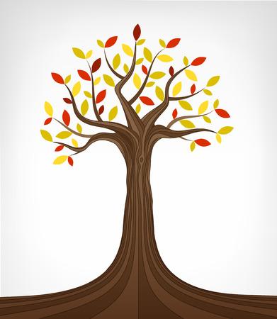 ash tree: colorful autumn ash tree conceptual art vector illustration