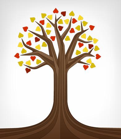linden tree: colorful autumn linden tree conceptual art vector illustration