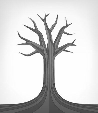 linden tree: dead linden tree conceptual art vector illustration