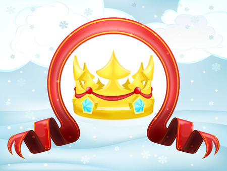 govern: crown with xmas bow at winter scenery vector illustration