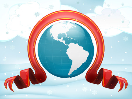 America globe with xmas bow at winter scenery vector illustration Vector