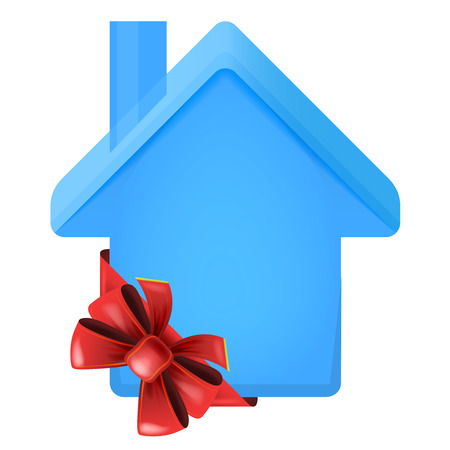 accomodation: house icon with red festive bow wrapping vector isolated illustration