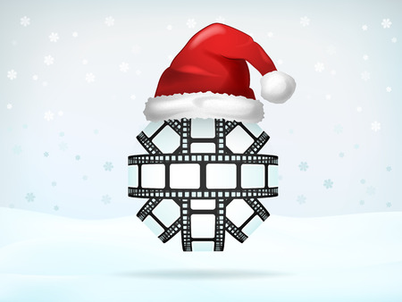 christmas movies: photo strip sphere covered with Santa cap vector illustration