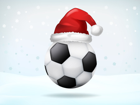 football ball covered with Santa cap vector illustration Vector