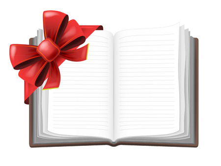 open book with red festive bow wrapping vector isolated illustration Vector