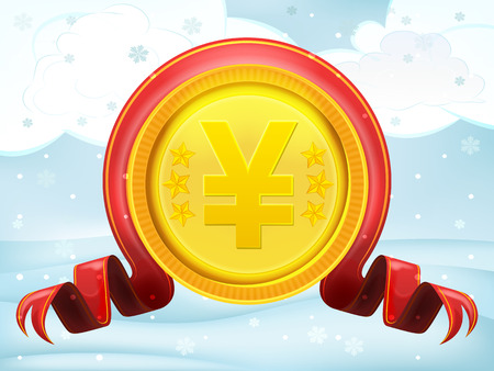 yuan: golden Yuan coin with xmas bow at winter scenery vector illustration