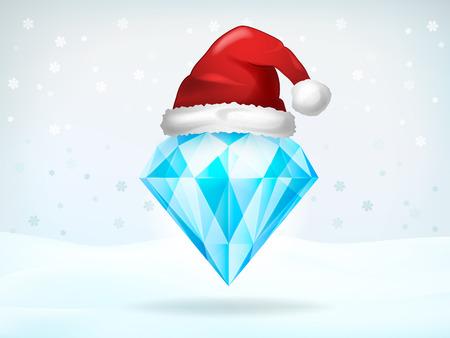 christmas hat: Xmas jewel covered with Santa cap vector illustration Illustration