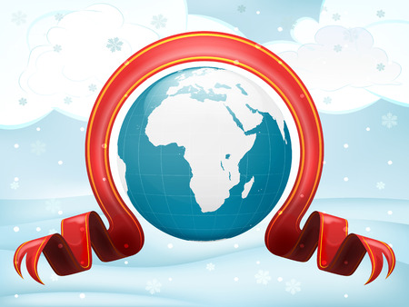 Africa globe with xmas bow at winter scenery vector illustration Vector