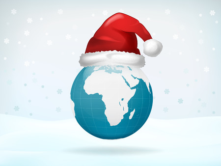 worldwide wish: Africa globe view covered with Santa cap vector illustration