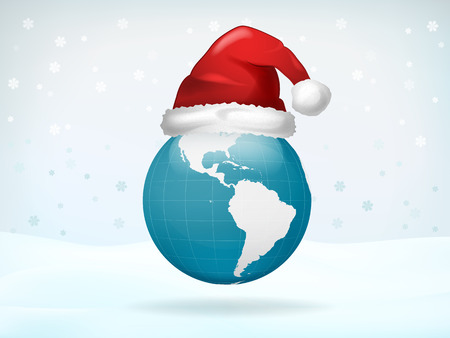 worldwide wish: America globe view covered with Santa cap vector illustration