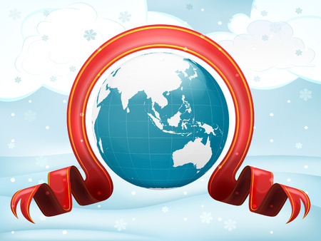 Asia globe with xmas bow at winter scenery vector illustration Vector