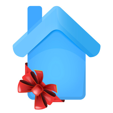 accomodation: blue house with red festive bow in corner vector isolated illustration Illustration