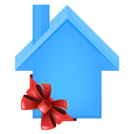 accomodation: blue house with red festive bow wrapping vector isolated illustration Illustration