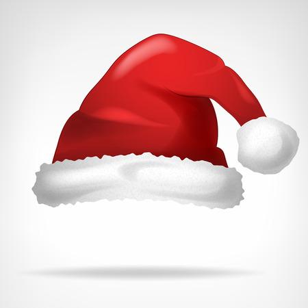 rode kerstmuts op wit wordt geïsoleerd vector illustratie Vector Illustratie