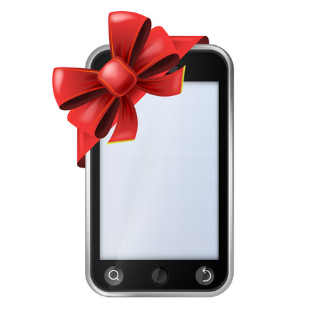 cell phone with red festive bow wrapping vector isolated illustration Vector