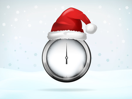 expectations: Christmas time expectations with Santa cap vector illustration Illustration