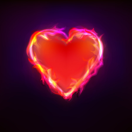 burning love: burning love as heart symbol at fire graphic design isolated vector illustration on black background