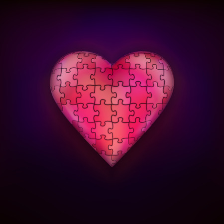 puzzle heart: red puzzle design as love and heart symbol modern graphic isolated vector illustration on black background