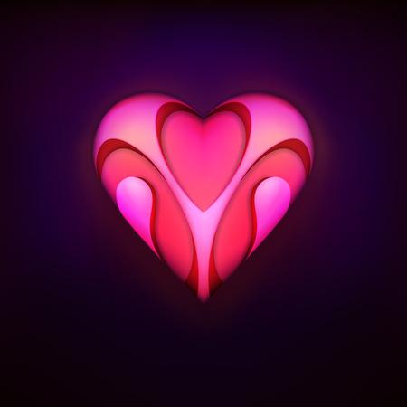 talisman: dise�o talism�n de moda rojo como el amor y el s�mbolo del coraz�n gr�fico ilustraci�n vectorial aislado sobre fondo negro