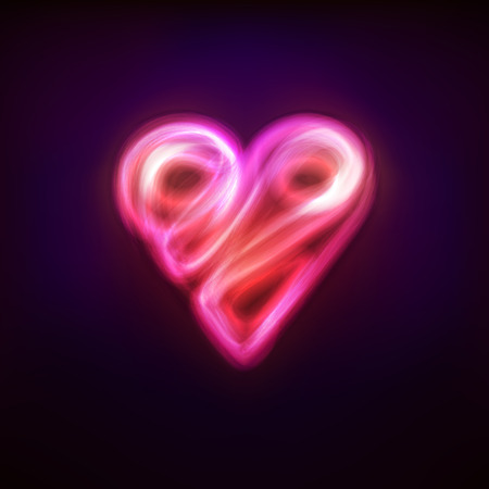 light blazing line design as love and heart symbol graphic isolated vector illustration on black background Vector