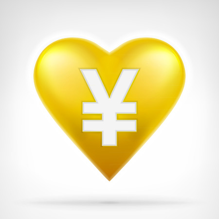 yuan: Yuan coin shaped as golden heart at modern graphic design isolated vector illustration on white background