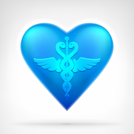 caduceus snake with stick: medical sign on blue heart symbol at modern icon graphic design isolated vector illustration on white background Illustration