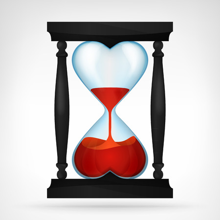 sandglass: flowing red love liquid in dual heart shaped hourglass design isolated vector illustration on white background